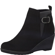 Marco Tozzi Black Plain Front Wedge Boot