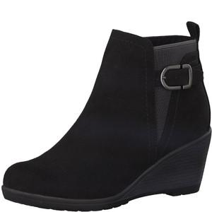 Marco Tozzi Black Plain Front Wedge Boot