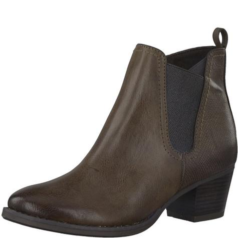 Marco Tozzi Brown Chelsea Style Block Heel Boot