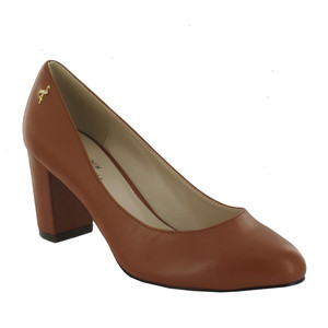 Pacomena Tan Block Heel Court Shoe