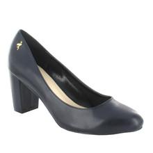 Pacomena Navy Block Heel Court Shoe
