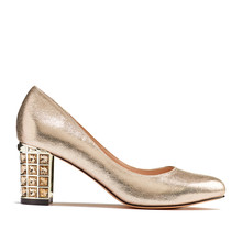 Pacomena Gold Block Heel Court Shoe