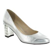 Pacomena Silver Block Heel Court Shoe