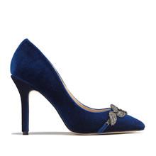 Pacomena Navy Velvet Heel Court Shoe
