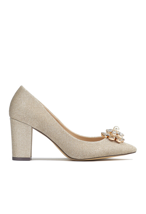 Pacomena Silver Court Shoes with Jewel Detail