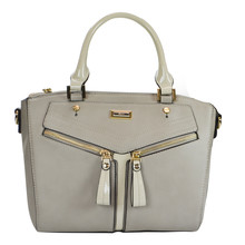 Gionni Grey Handbag with Cream Handles
