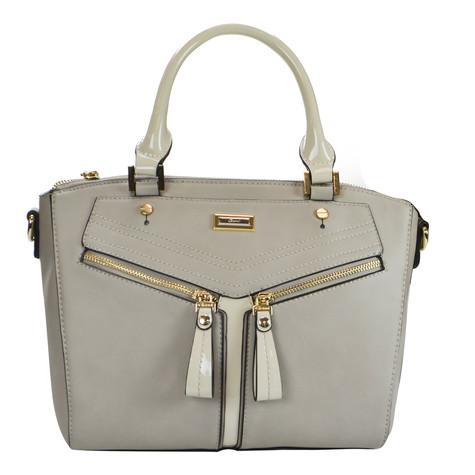 Gionni Grey Handbag with Cream Handles
