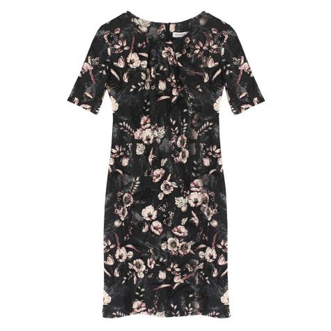 Zapara Dark Grey Floral Pattern Print Dress