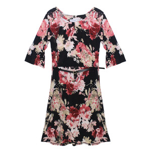 Zapara Wine Flower Pattern Belted Dress