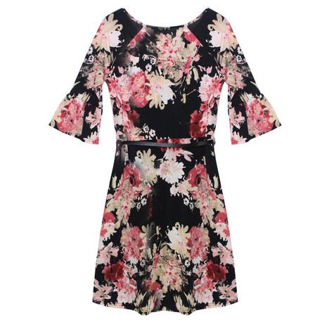Zapara Wine Flower Pattern Belted Dress