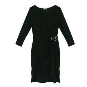 Zapara Bottle Green Buckle Detail Dress