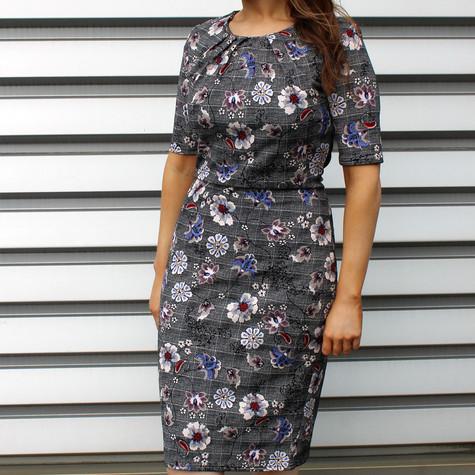 Zapara Grey Fine Check Flower Print Dress