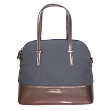 Gionni Navy Patent & Dark Grey Panel Handbag