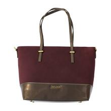 Dave Jones Burgandy & Patent Grey Panel Handbag