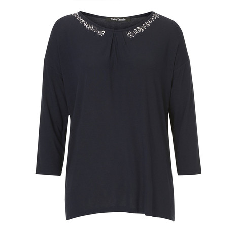 Betty Barclay Dark Round Jewel Detail Long Sleeve Top