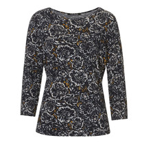 Betty Barclay Round Neck Dark Floral Print Top