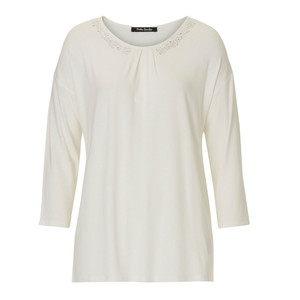 Betty Barclay Cream Round Neck Jewel Detail Top