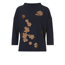 Betty Barclay Dark Navy Round Neck Embroidery Top
