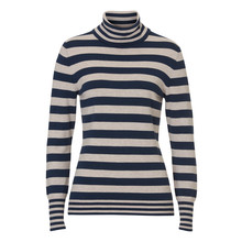 Betty Barclay Turtle Neck Navy & Beige Stripe Knit