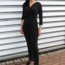 Zapara Black V-Neck Wrap Jump Suit