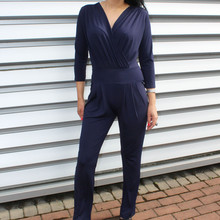 Zapara Navy V-Neck Wrap Jump Suit