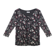 Zapara Black & Purple Floral Pattern Blouse