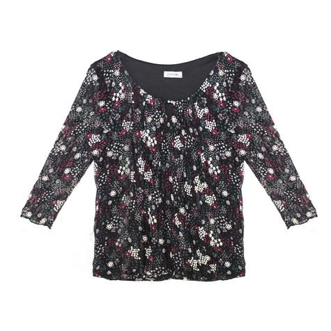 Zapara Black & Purple Floral Pattern Blouse