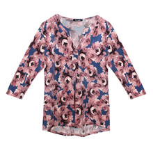 Twist Pink Flower Pattern Print Loose Top