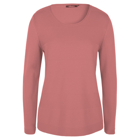 Olsen JUMPER STRUCTURED STRIPES - CORAL