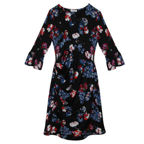Zapara Black Floral Blue & Red Pattern Dress