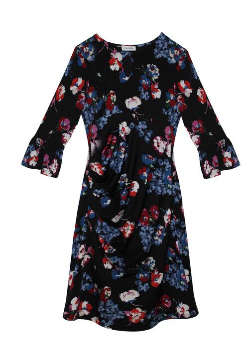 Zapara Black Floral Blue & Red Pattern Dress