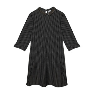 Zapara Black Sequence Collar Dress