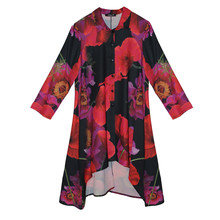 SophieB Black & Red Collar Long Shirt Dress