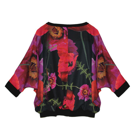 SophieB Black & Red Floral Pattern Cape Top