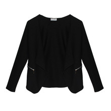 Zapara Black Short Crop Zip Detail Jacket
