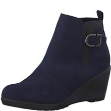 Marco Tozzi Navy Plain Front Wedge Boots
