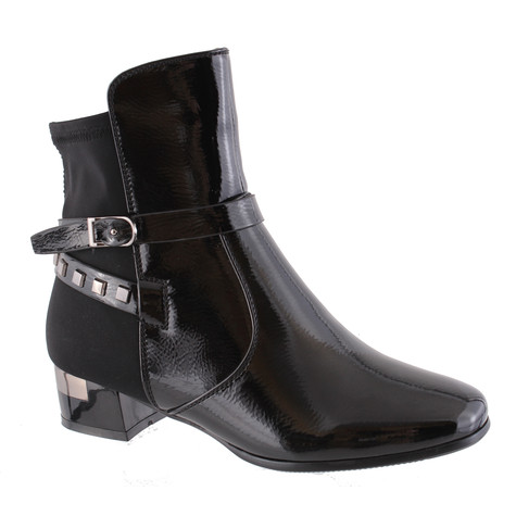 Susst Black Patent Block Heel Boot