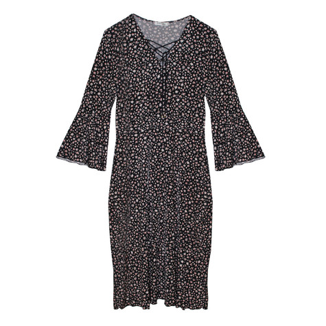 Zapara Black Floral Tie String Neck Detail Dress