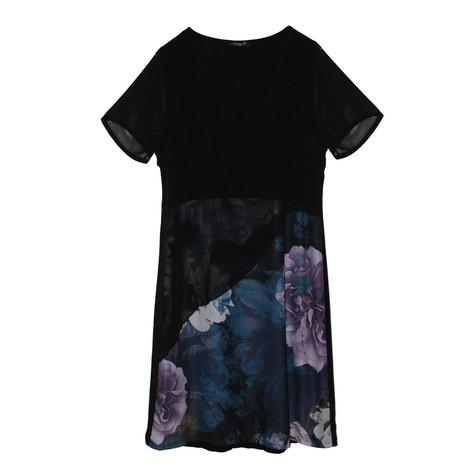 SophieB Black & Navy Mesh Sleeve Dress