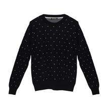 Twist Navy White Polka Dot Knit
