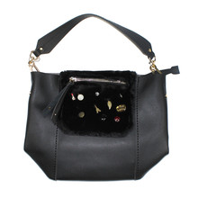 Mimosa Fur Detail Accessory Black Handbag