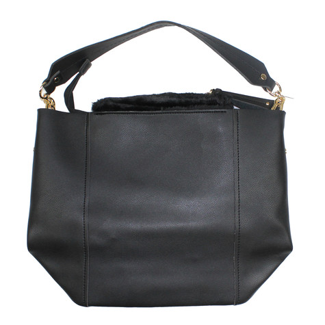 Mimosa Fur Detail Accessory Black Handbag