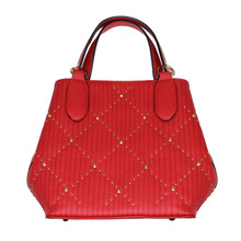 Mimosa Red Handbag With Gold Stud Accessory Detail