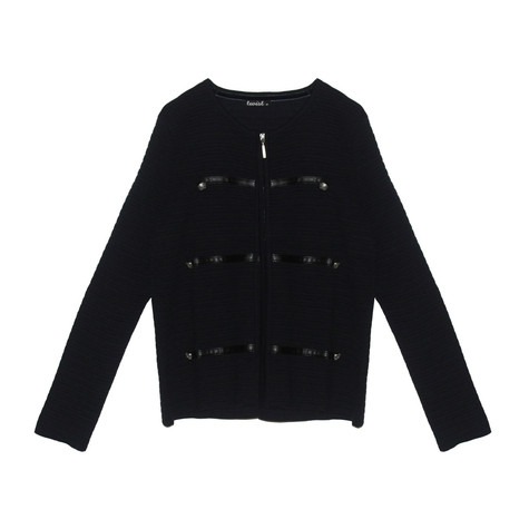 Twist Navy Rib Zip Up Knit