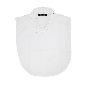 Twist Stud Detail White Bib Collar