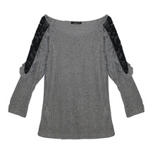 SophieB Grey Light Rib Black Lace Shoulder Finish Top