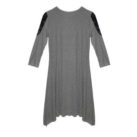 SophieB Grey Rib Round Neck Jewelry Detail Dress