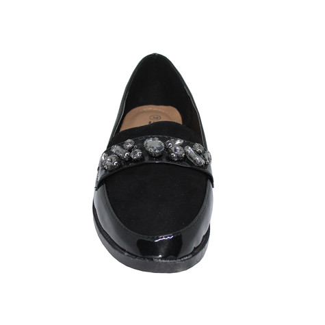 Pamela Scott BLACK DIAMANTE EMBELLISHED PATENT LOAFER