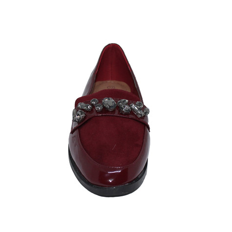 Tony & Co. BURGUNDY DIAMANTE EMBELLISHED PATENT LOAFER - SALE €15