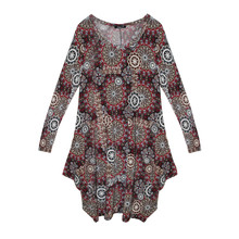 SophieB Red Samba Swirl Print Round Neck Dress